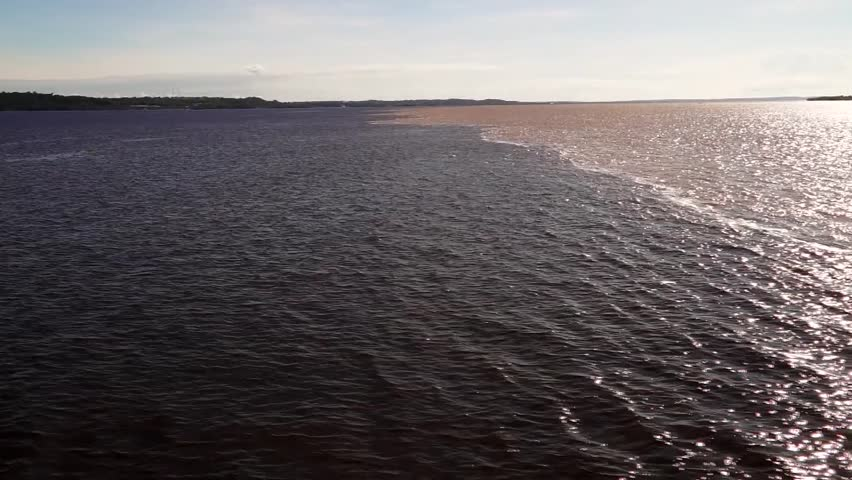 (Encontro das aguas)The Meeting of Waters, the confluence between the Rio Negro and Rio Solimoes, Manaus, Brazil, 2014
