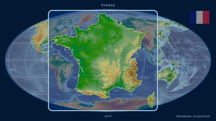 Physical Map Of France Outline.Zoomed In View Of A France Stock Footage Video 100 Royalty Free