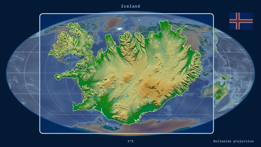 Iceland shape animated on the physical map of the globe stock zoomed in view of a iceland outline with perspective lines against a global physical map gumiabroncs Choice Image