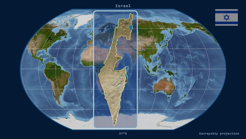 Distortion patterns animated world map in the interrupted goode zoomed in view of a israel outline with perspective lines against a global satellite map gumiabroncs Choice Image