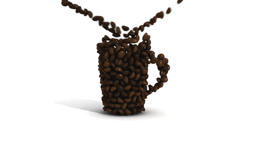 Coffee beans pouring into an invisible mug.
