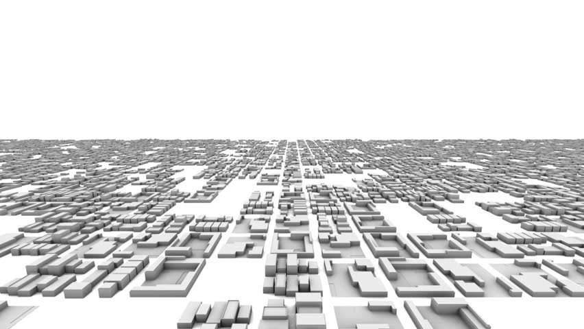 City Office Buildings Growing Time-lapse 3D