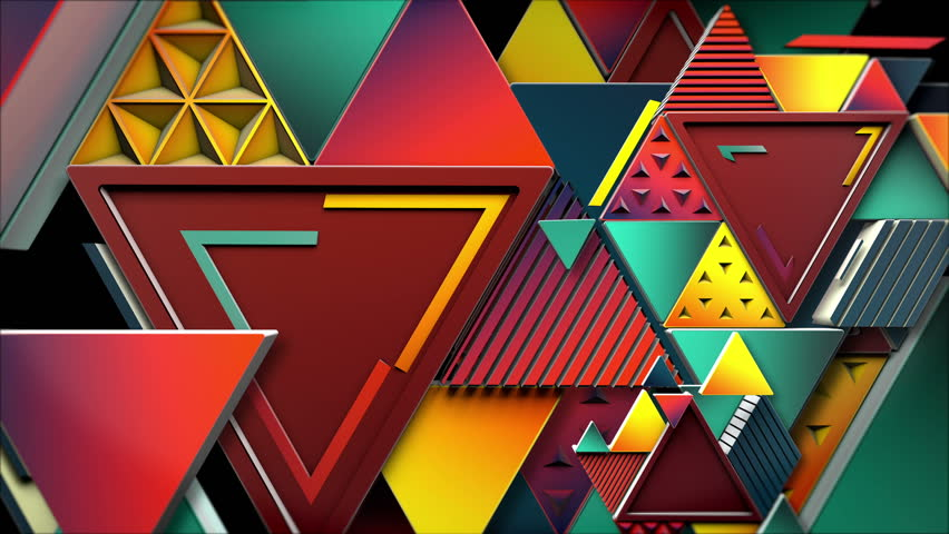 A retro & vintage set of triangles and lines that dances endlessly for 6 seconds. Early 90´s style. High quality 3D render. Warm Colors. Ideal for walls and backgrounds.