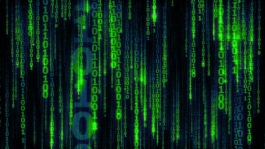 Cyberspace with digital falling lines, binary hanging chain, abstract animated background with sparkling green digital lines - seamless loop | Shutterstock HD Video #17431519