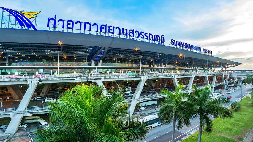 SUVARNABHUMI AIRPORT - SAMUT PRAKAN - THAILAND - MAY 3: Time lapse Day To Night at Suvarnabhumi International Airport on May 3,2016 in Samut Prakan of Thailand