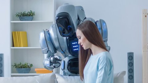 Pleasant woman talking with the robot