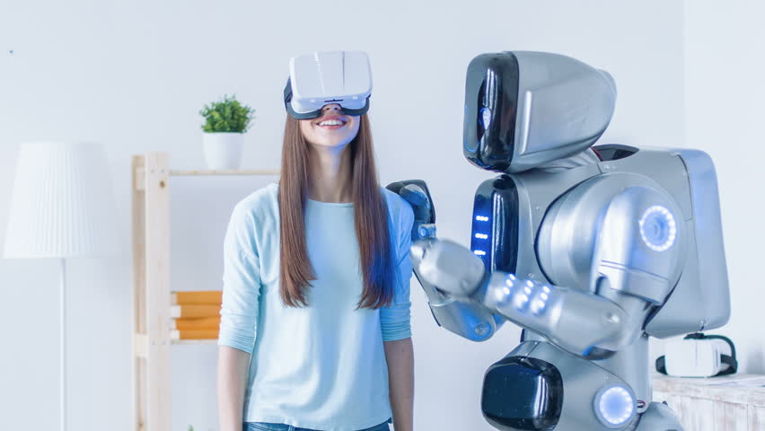 Nice woman using virtual reality device