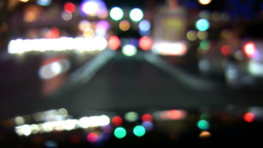 Drive City Night Slow Motion Defocused