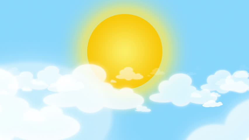 Cartoon Big Sun Behind Puffy Clouds Hovering In Blue Sky ...