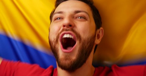 Colombian fan celebrates holding the flag of Colombia