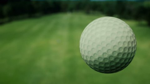 Aerial view of the golf ball. Shot in slow motion.