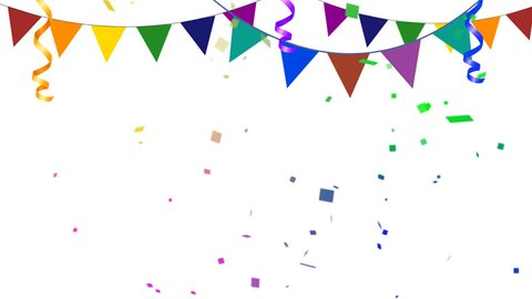 Colorful Party Elements With Confetti Going in and Out of Frame in Alpha Channel