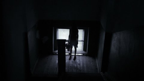 spirit of the girl in an old scary house. limb of Satan
