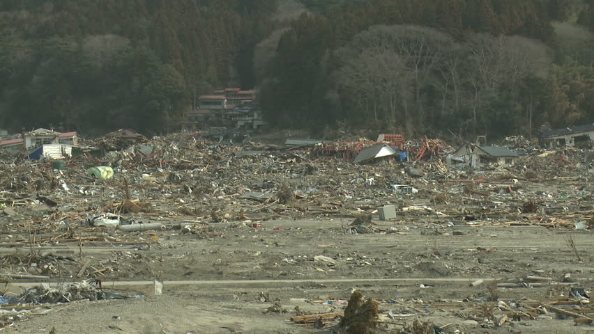 Destroyed Remains Of Town After Japan Tsunami