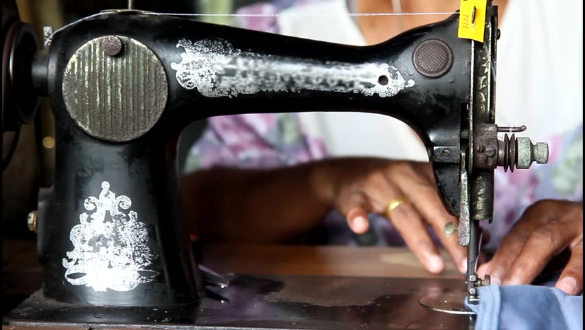 Work On An Old Sewing Stock Footage Video 40% Royaltyfree Simple Sewing Machine Thailand