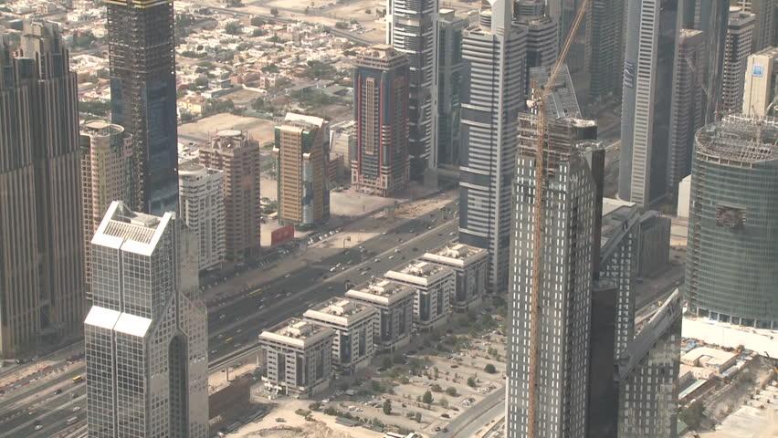 Sheikh Zayed Road, Dubai. High-angle medium long shot of traffic flowing on Sheikh Zayed Road. (Dubai, UAE - 2013) | Shutterstock HD Video #17534779