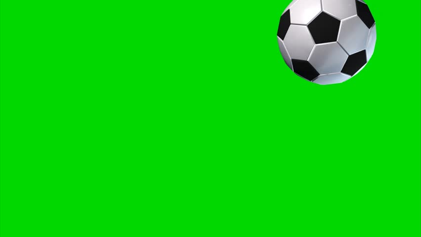 Soccer ball rotates and flies to the camera - green screen
