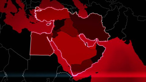 Highly detail map of the Middle East region, showing the countries, airports and routes. Red.