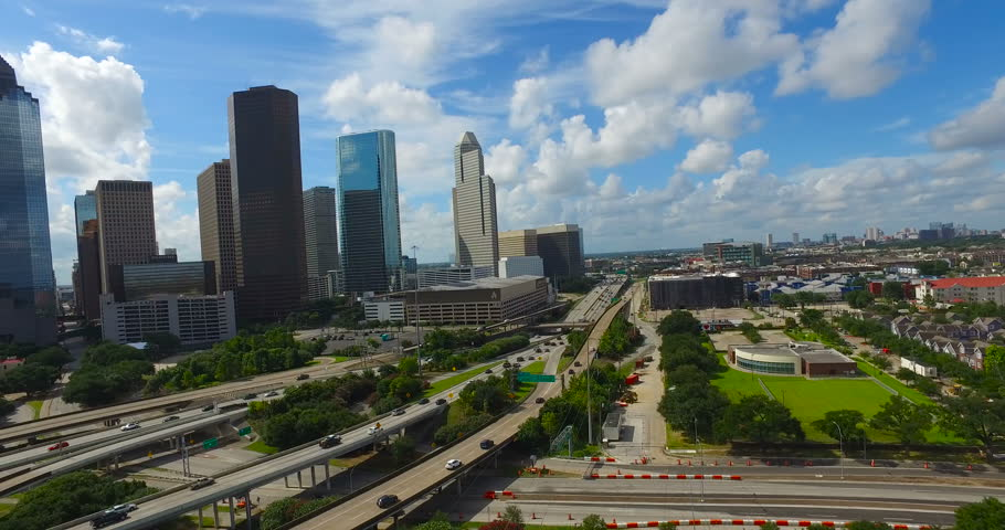 Aerial view of Houston Downtown Skyline.