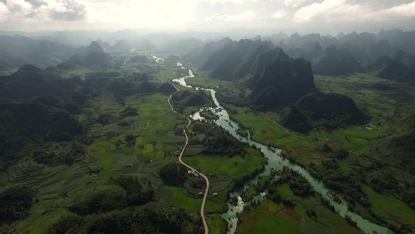 Aerial video, with drone, above ricefield, in a beautiful Asian landscape. | Shutterstock HD Video #17611054