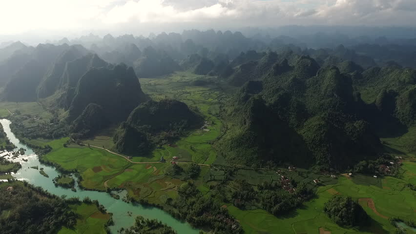 Aerial Video With Drone Above Ricefield In A Beautiful Asian Landscape