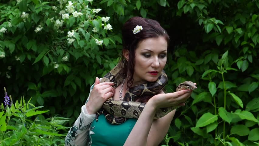 Woman Posing With A Snake Stock Footage Video 100 -8916