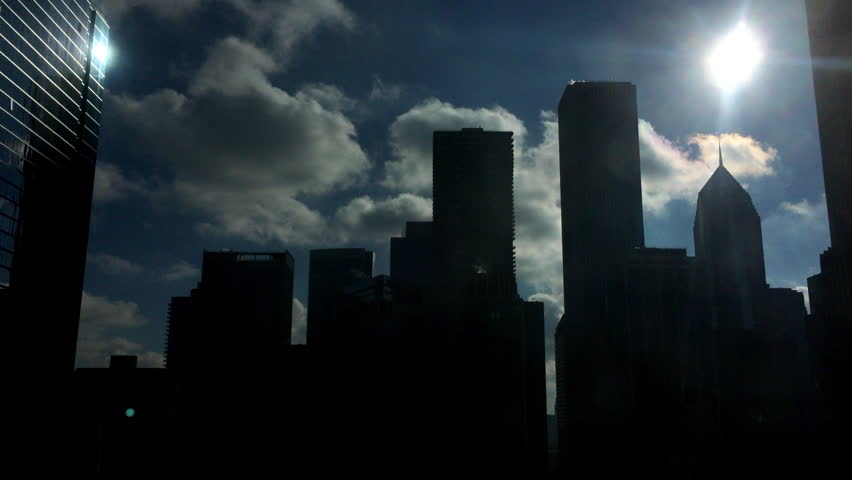 Bright sunshine with silhouette of Chicago buildings 4k #17674513