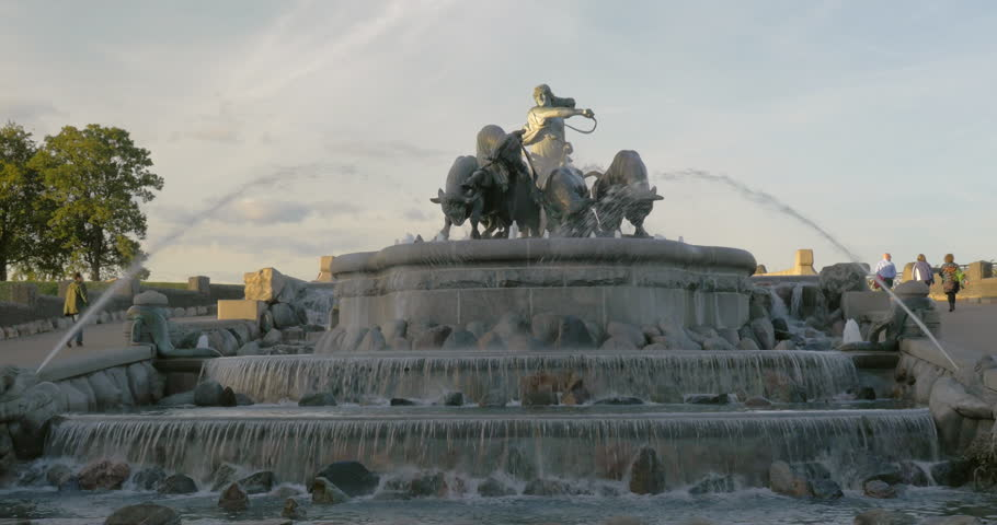 View to the grand Gefion Fountain, landmark of Copenhagen, Denmark. Sculpture of Norse goddess Gefjun with bulls on the top