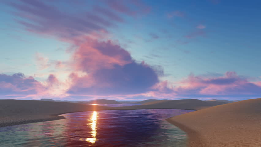Fantastic sunset glow in sky above unique white sand dunes desert and water lagoons in Lencois Maranhenses National Park in Brazil. 3D animation rendered in 4K, ultra high definition.   Shutterstock HD Video #17685229