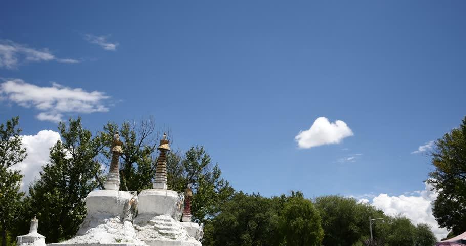 4k Potala & white stupa in Lhasa,Tibet. gh2_08899_4k