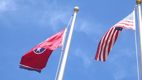 Tennessee state flag with American flag