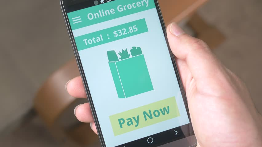 Ordering groceries from app on smartphone