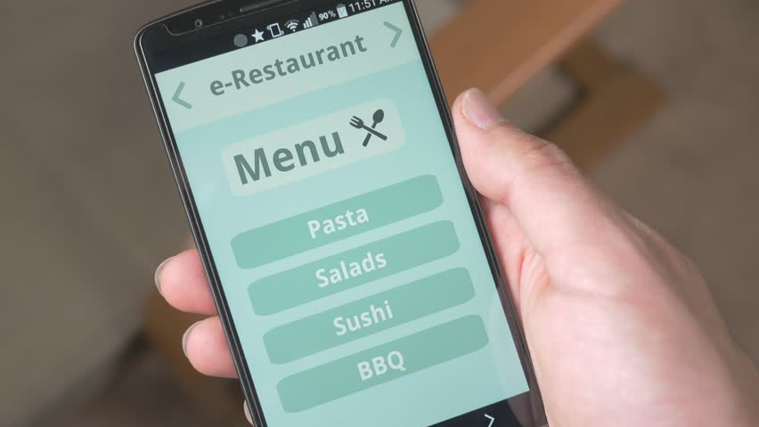 Ordering food from restaurant from smartphone