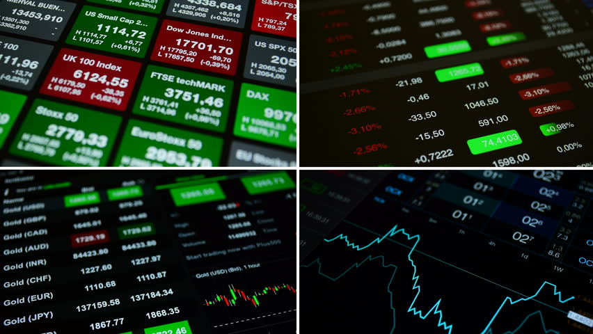 """Collage set """"Stock market"""", 4K stock footage. Set from 4 footage on the theme business, finance, stock market, forex. Set includes 4 footages with financial numbers, charts, stock market tickers"""