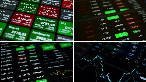 "Collage set ""Stock market"", 4K stock footage. Set from 4 footage on the theme business, finance, stock market, forex. Set includes 4 footages with financial numbers, charts, stock market tickers"