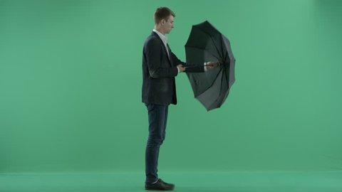 a man with umbrella