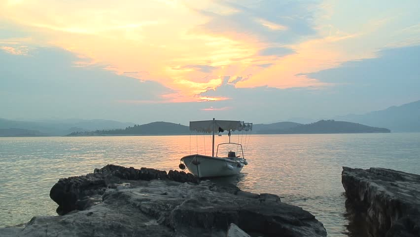 Dingy Anchored in Sunset on Croatian Island