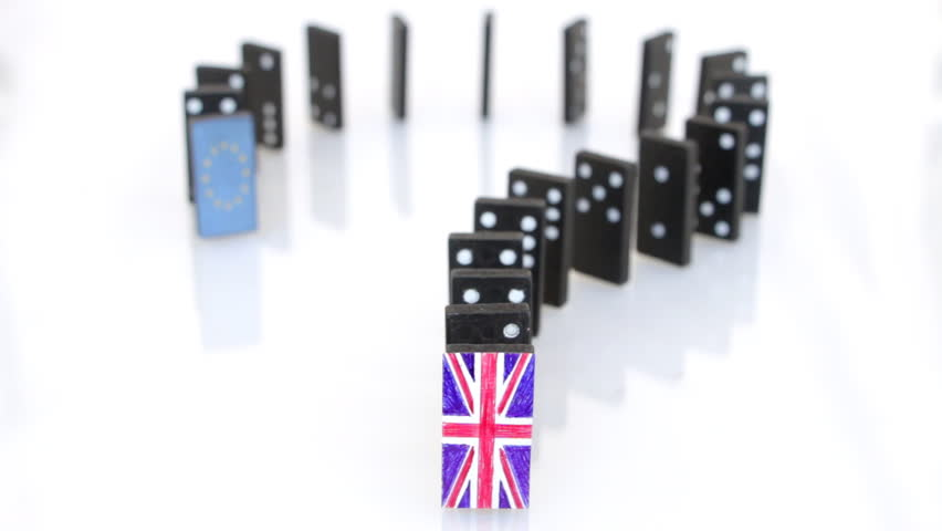 Brexit domino effect. Domino effect starting with a tile with the UK flag ends with the tile of EU flag