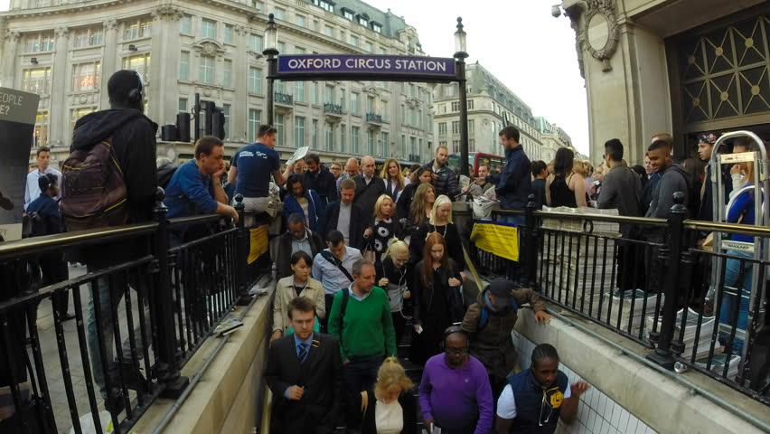 Oxford Circus, London, Summer 2016. The tube station at Oxford Circus is flooded every day with commuters on their way home after work, the station entrance struggles to cope with the volume of people