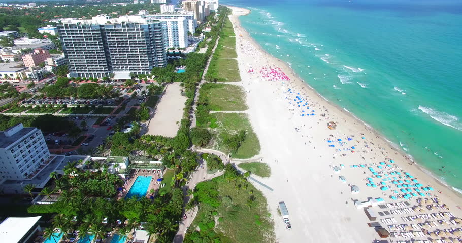 Beautiful aerial shot of South Beach Miami, Florida. Bird eye view of the beautiful natural landscape, beach and ocean.