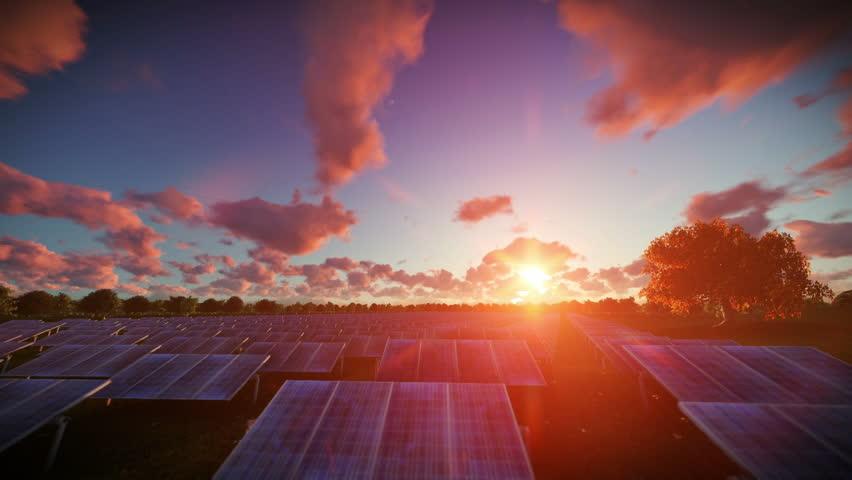 Solar pannels, timelapse sunset, aerial view | Shutterstock HD Video #17862739