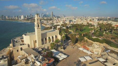 Aerial View, Flying Over Old Jaffa Port, Tel-Aviv Skyline and the Mediterranean Sea. Israel - Orbit shot