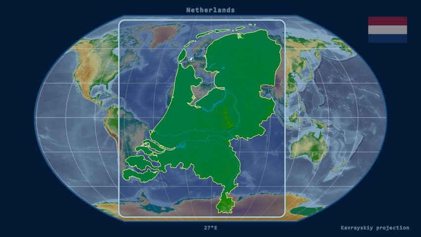 Zoomed-in view of a Netherlands outline with perspective lines against a global physical map in the Kavrayskiy VII projection