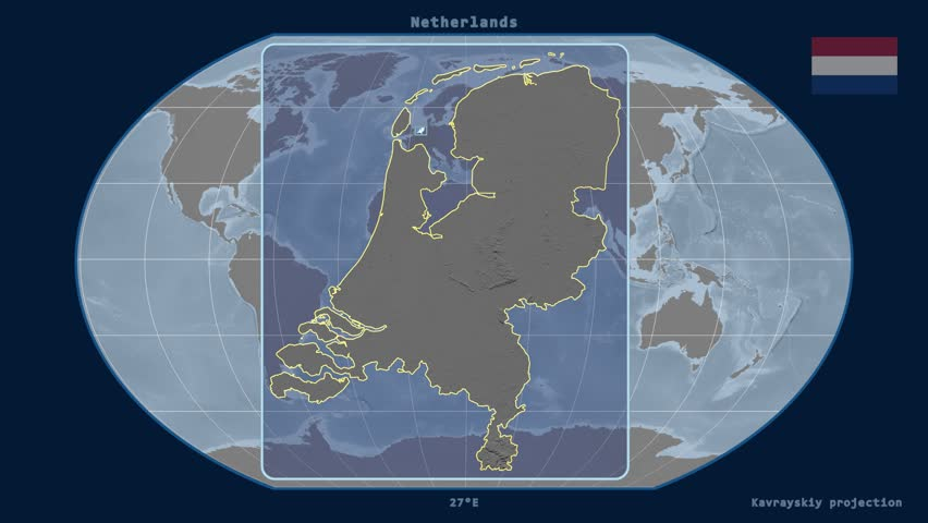 Zoomed-in view of a Netherlands outline with perspective lines against a global elevation map in the Kavrayskiy VII projection
