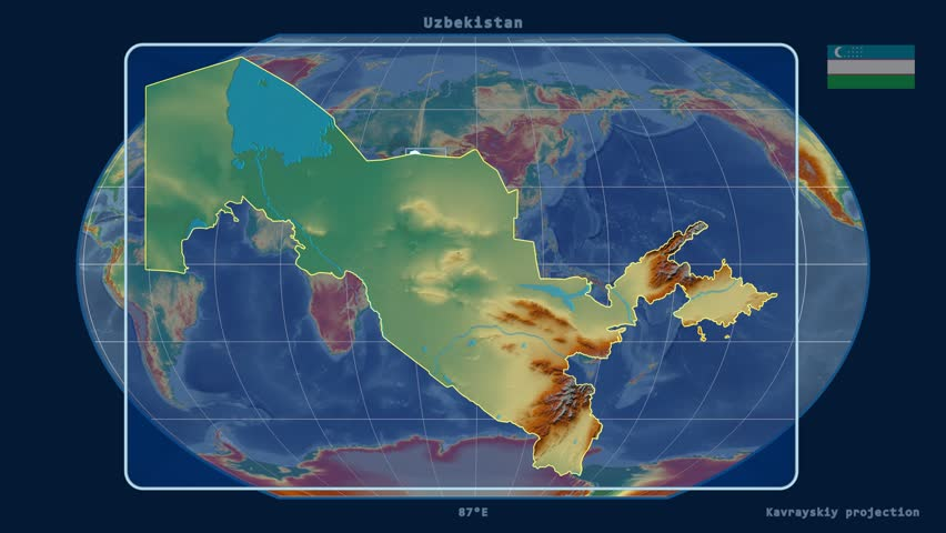 Zoomedin View Of A Uzbekistan Outline With Perspective Lines - Uzbekistan interactive map