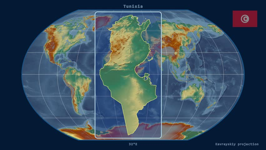 Night To Day Rotating Earth Zoom In On Tunisia Outlined - Tunisia earth map
