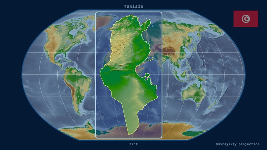Egypt shape animated on the physical map of the globe stock footage zoomed in view of a tunisia outline with perspective lines against a global physical map gumiabroncs Gallery