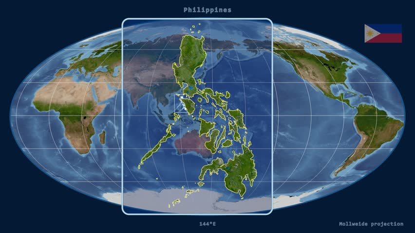 Zoomedin View Of A Philippines Outline With Perspective Lines - World map satellite view video