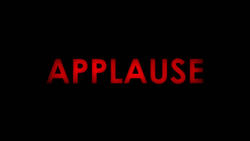 Applause - Red flashing warning message text on black background. Two speeds. Seamlessly loopable. 4K.
