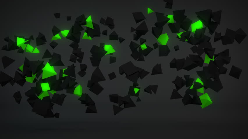 Chaotic Green particles. Abstract 3D render animation seamless loop. 4k UHD (3840x2160)  | Shutterstock HD Video #17947060